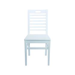 Bodrum Sandalye - Sabit Ahşap Sandalye - Bodrum 7 çıtalı - Beyaz