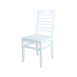 Sabit Ahşap Sandalye - Bodrum 7 çıtalı - Beyaz - Thumbnail