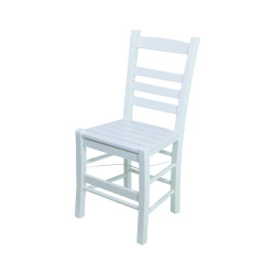 Sabit Ahşap Sandalye - Rino - Beyaz - Thumbnail