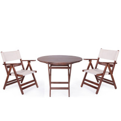 Katlanır Ahşap Sandalye - Atina PVC - Thumbnail