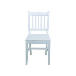 Sabit Ahşap Sandalye - Hisar- Beyaz - Thumbnail